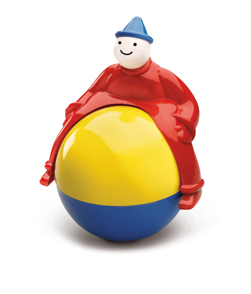 Clown astride rolling ball never falls off