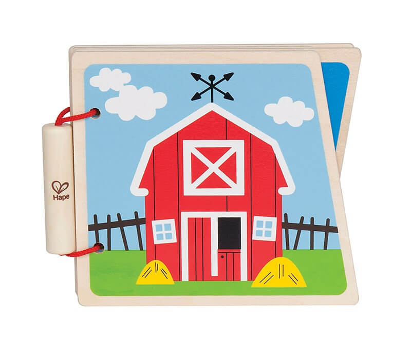 Wooden wordless picture book about the farm