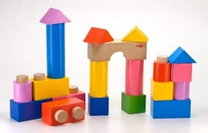 wooden blocks with plug and dowel connectors