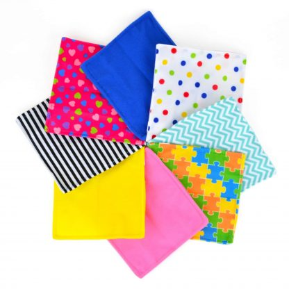 Array of flannel covered crinkle paper for babies