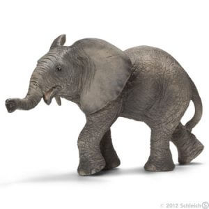 Toy African elephant calf or pretend play