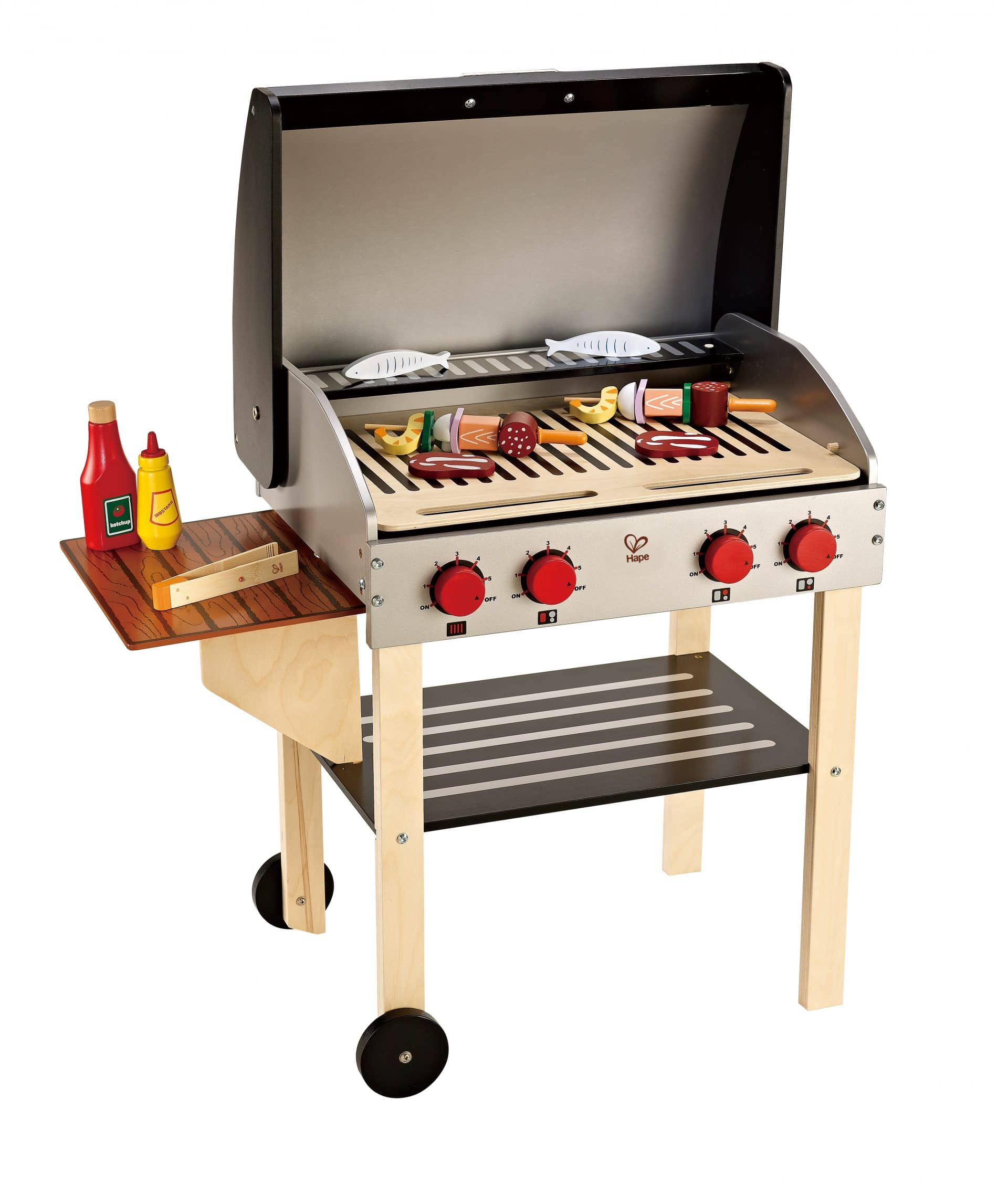 wooden toy grill for pretend play