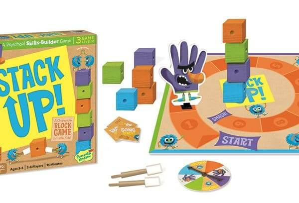 Cooperative stacking game develops eye-hand coordination