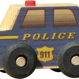 Small wooden police car for imaginative play