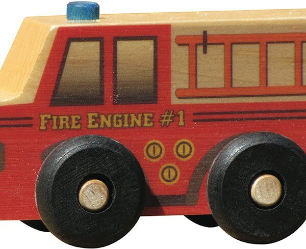 Small wooden fire truck for imaginative play
