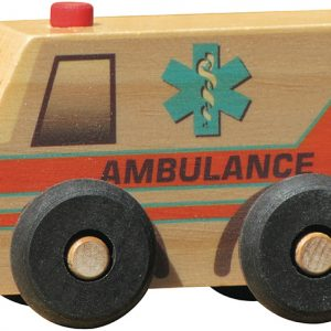 Small wooden ambulance for imaginative play