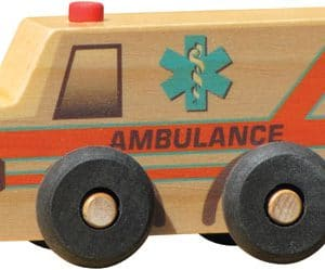 wooden toy ambulance