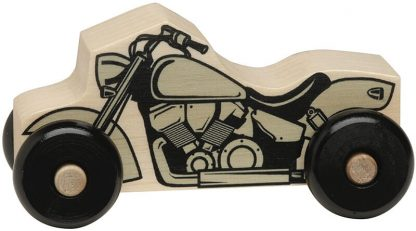 Small wooden motorcycle for imaginative play