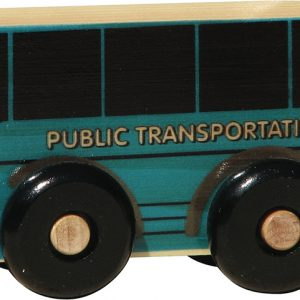 Small wooden public transit bus for imaginative play