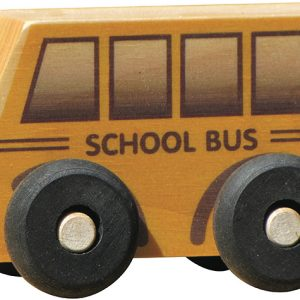 Small wooden school bus for imaginative play