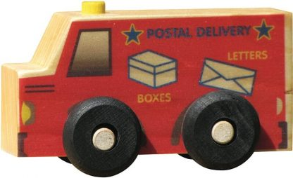 Small wooden mail truck for imaginative play
