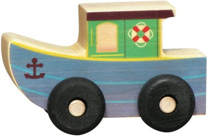 Small wooden tug boat for imaginative play