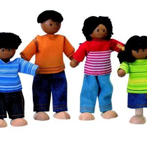 African American doll house family