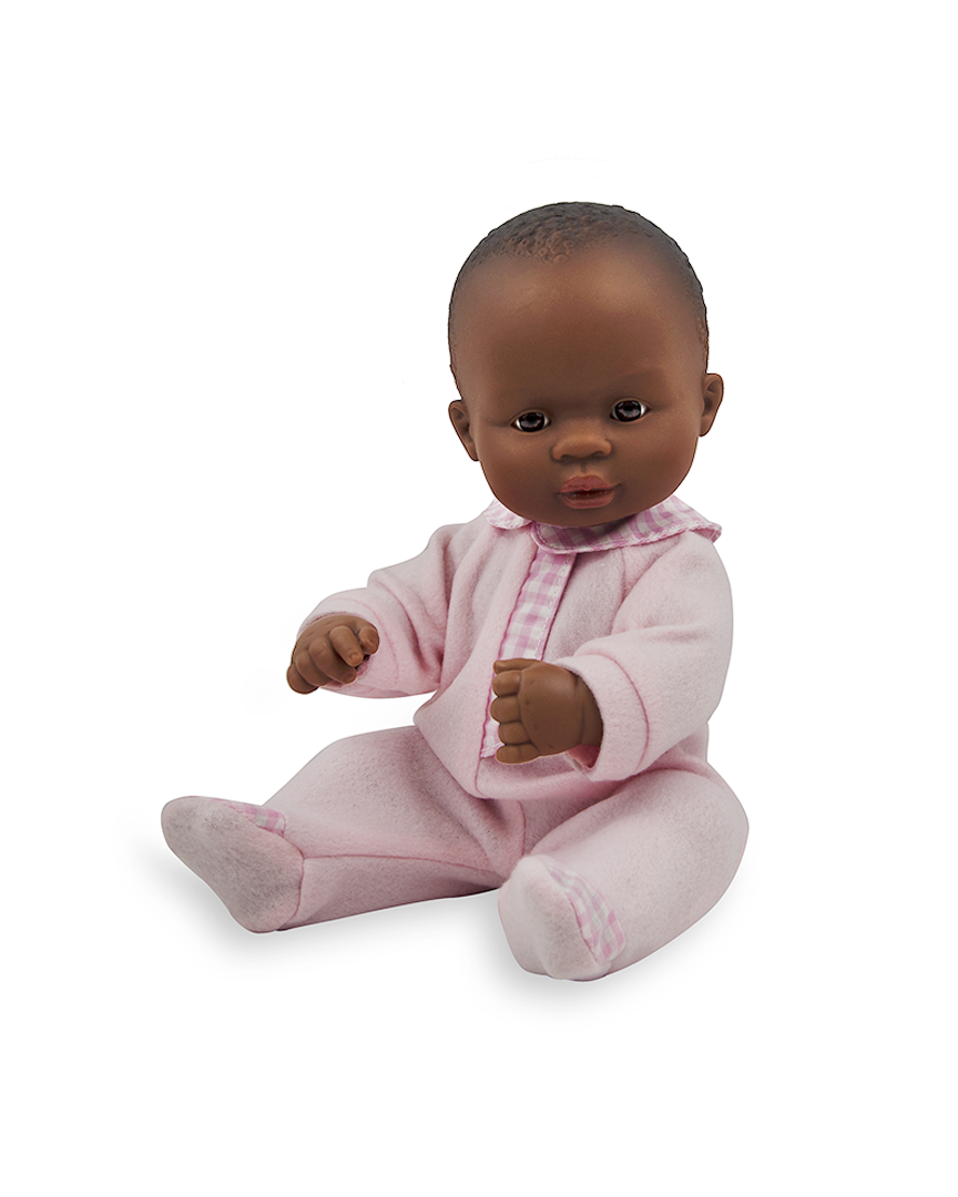 Newborn African girl doll in sleeper