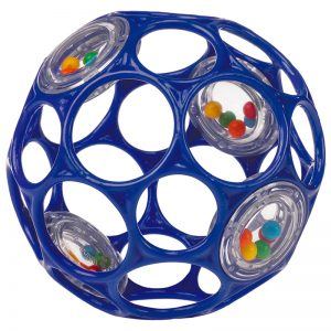 Easy-to-grasp rattle ball teaches cause and effect