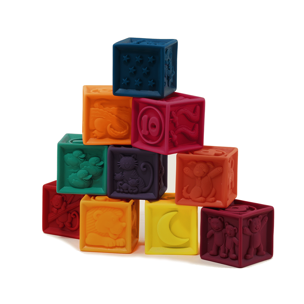 Squeezable, embossed, soft plastic blocks