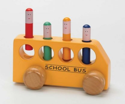 Wooden bus pegs press down pop up