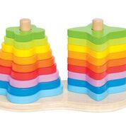 Double posts two shapes wooden stacking toy
