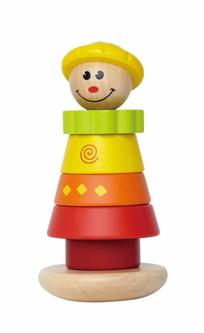 Wooden girl interchangeable rings stacking toy