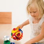Teapot and cups double as shape sorter