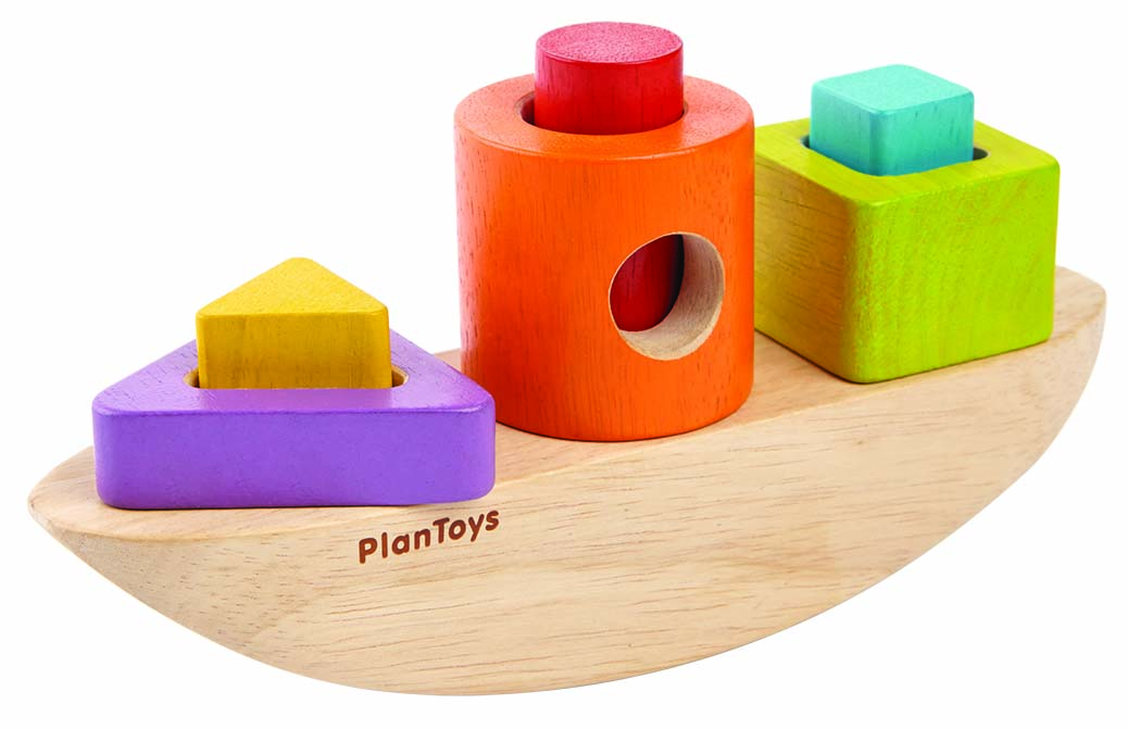 wooden toy rocking sorting boat