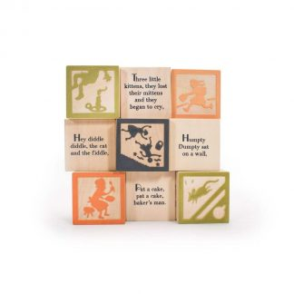Wooden nusery rhyme blocks promote literacy