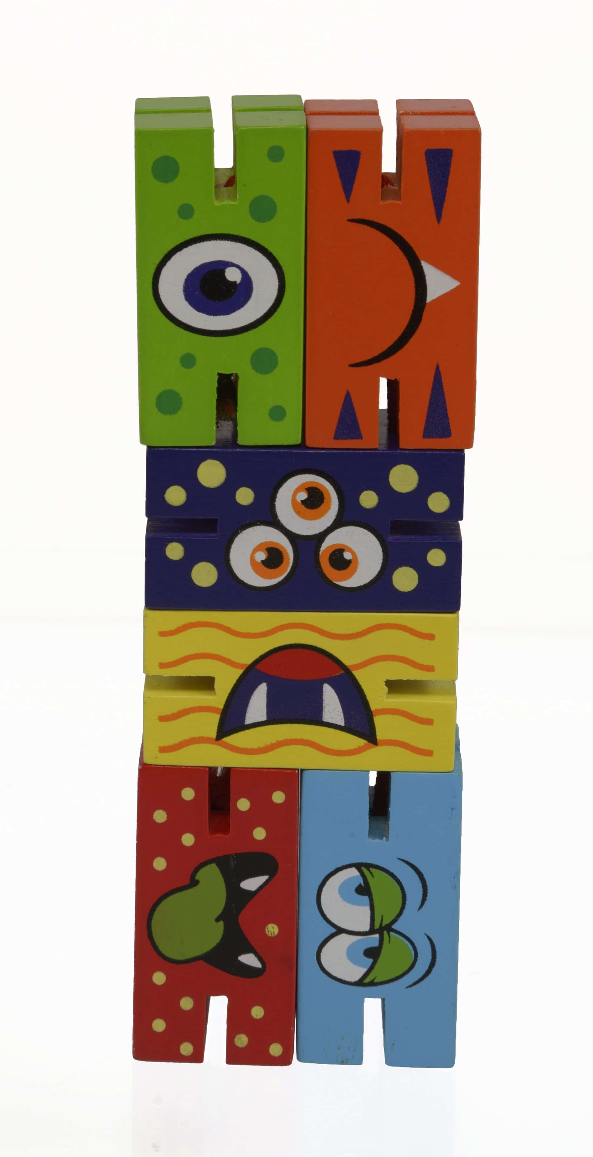 Connected, slotted wooden blocks make monster faces