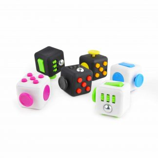 Cube-shaped, multi-function fidget toy
