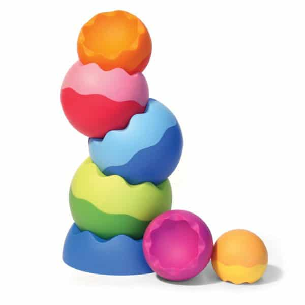 Weighted textured graduated stacking toy