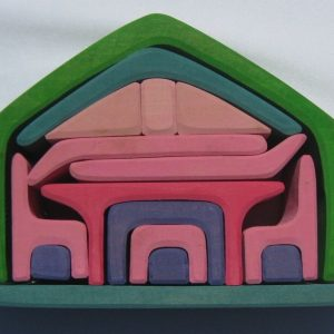 Three dimensional puzzle and compact dollhouse in one