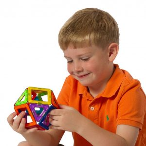 Magnetic open geometric shapes building toy