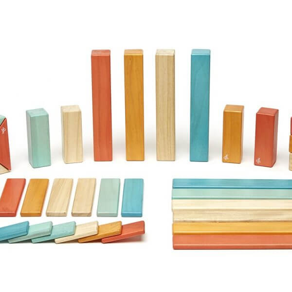 Magnetic wooden building components invite open-ended play