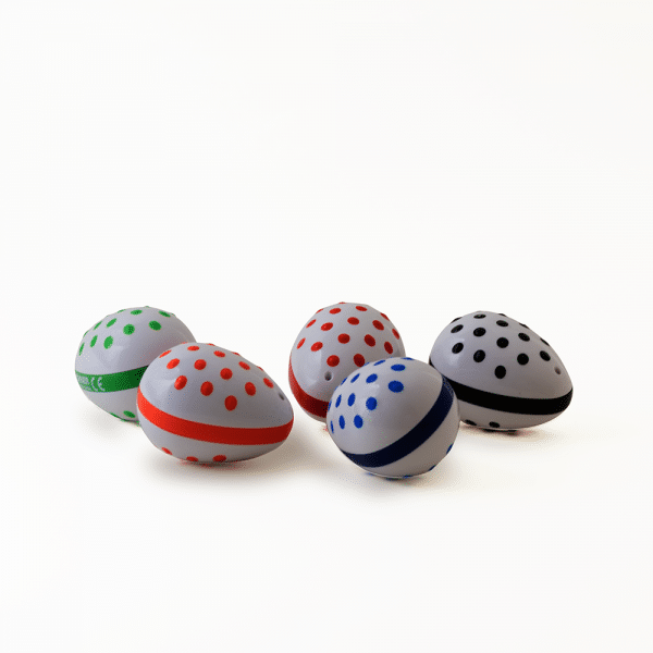 Raised dot easy-to-grip egg shakers
