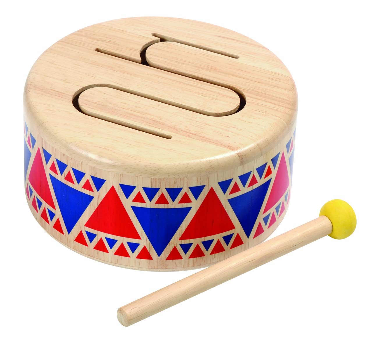 solid wooden drum with mallet