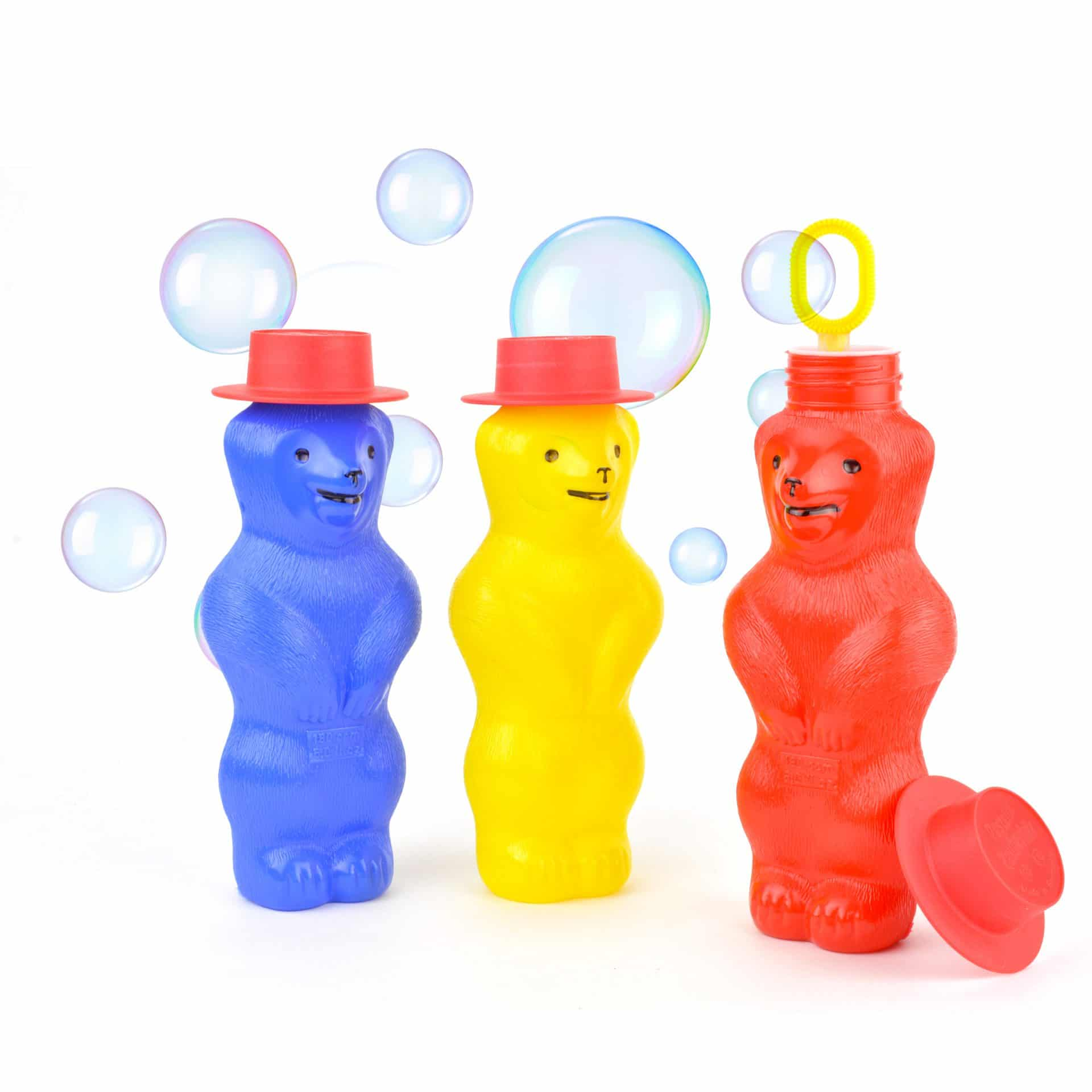 Bear-shaped container with built-in bubble wand