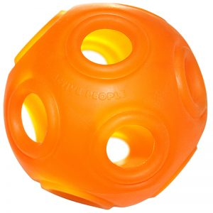 Flexible skin ball + coins=rattle ball