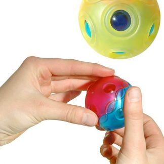 Hollow ball inside flexible skin holds noisemakers