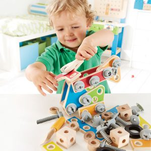 Manipulating nuts and bolts develops fine motor skills