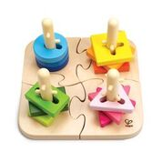 Grooved shapes pegged posts wooden stacker puzzle