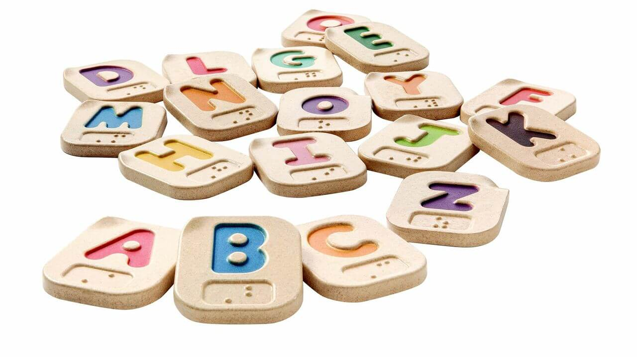 Braille alphabet tiles