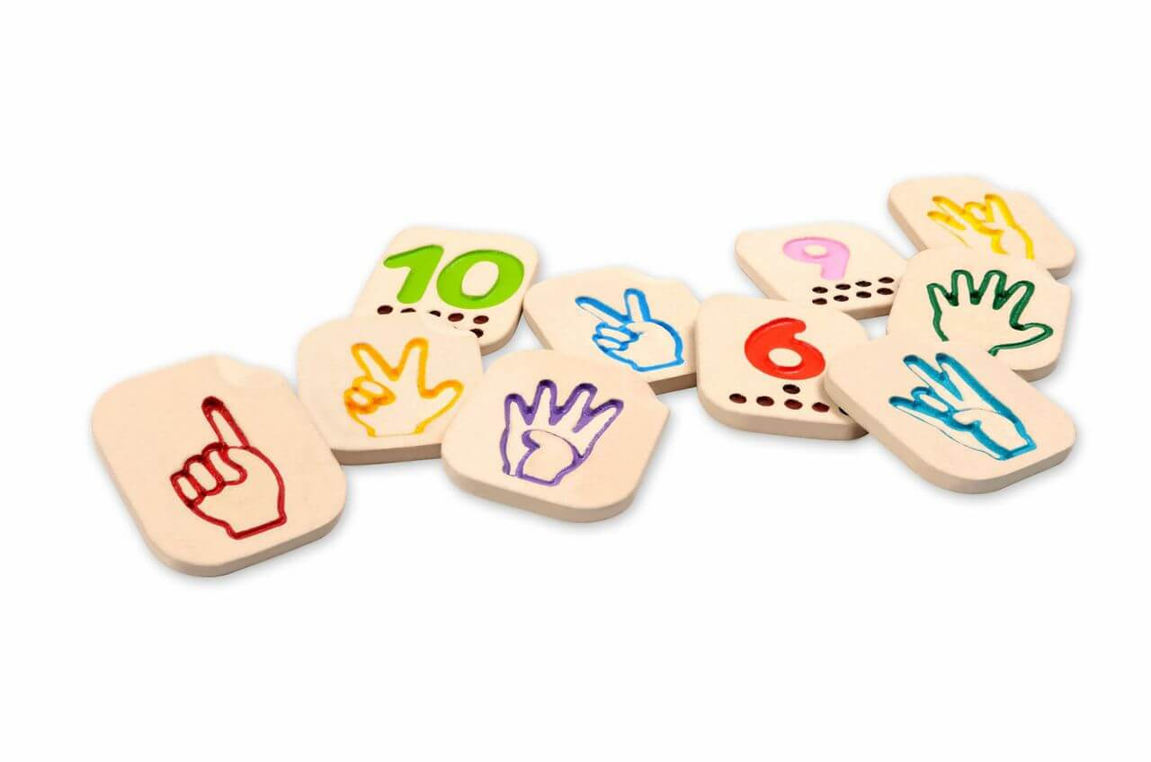 Sign language number tiles