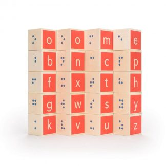 Wooden Braille alphabet blocks