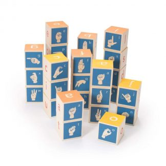 Wooden sign language alphabet blocks promote langauge