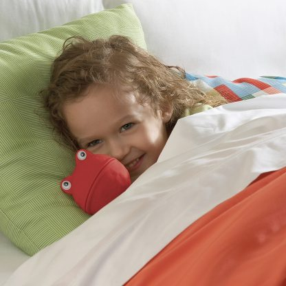girl snuggling with monster puppets-on-a-stick