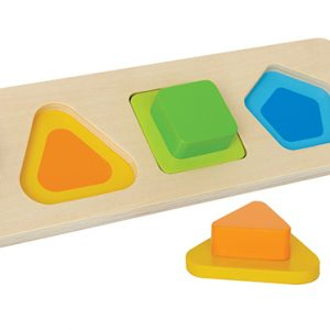 Self-correcting chunky basic shapes puzzle