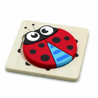 Four piece chunky wooden block ladybug puzzle
