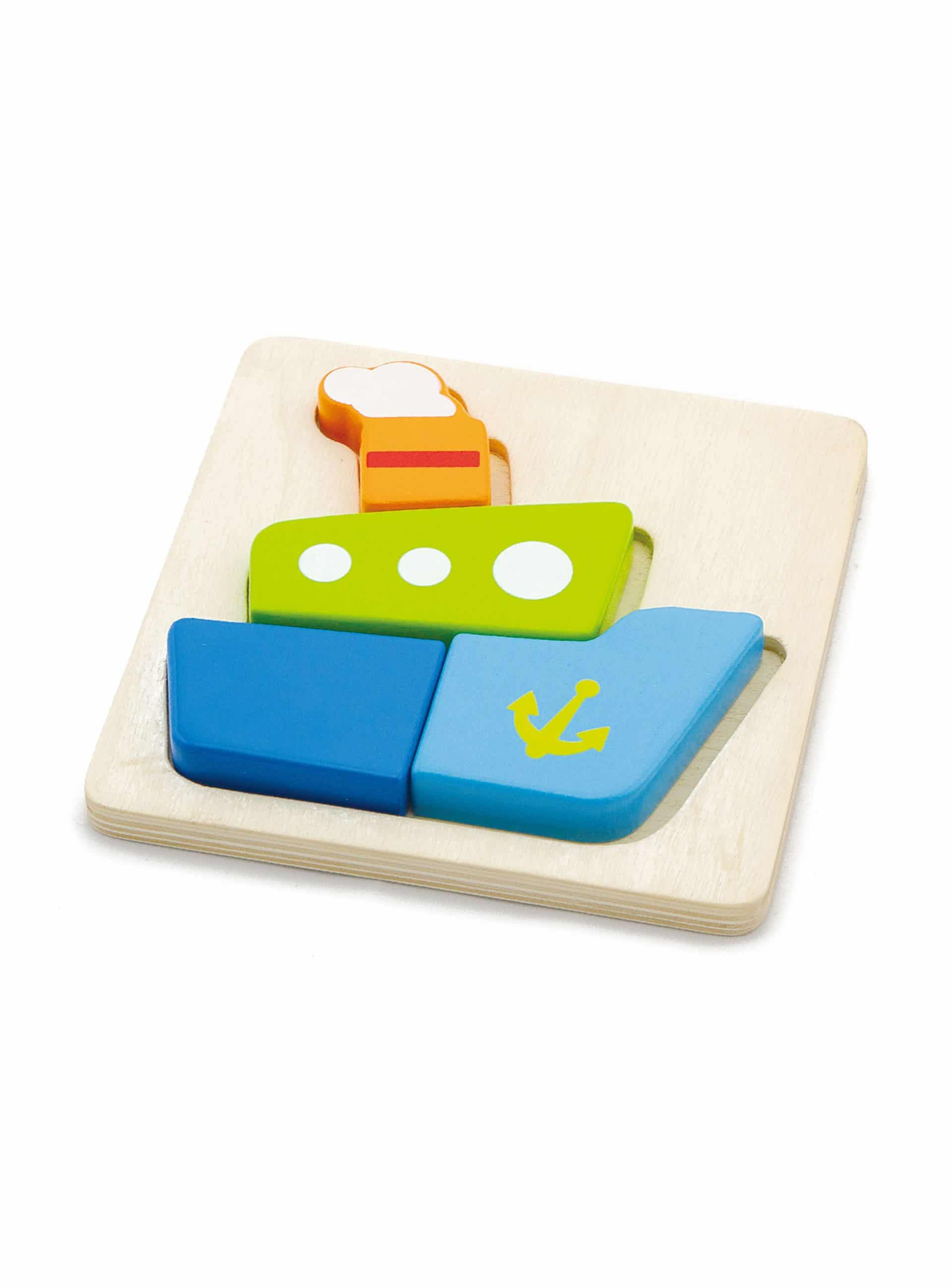 Four piece chunky wooden block shippuzzle