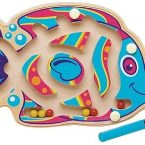 Fish shaped wooden marble maze