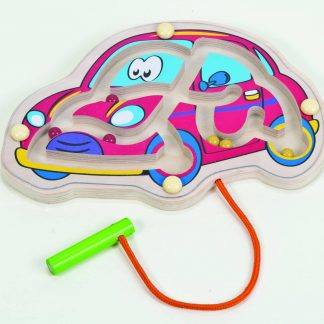 Car shaped wooden magnetic maze