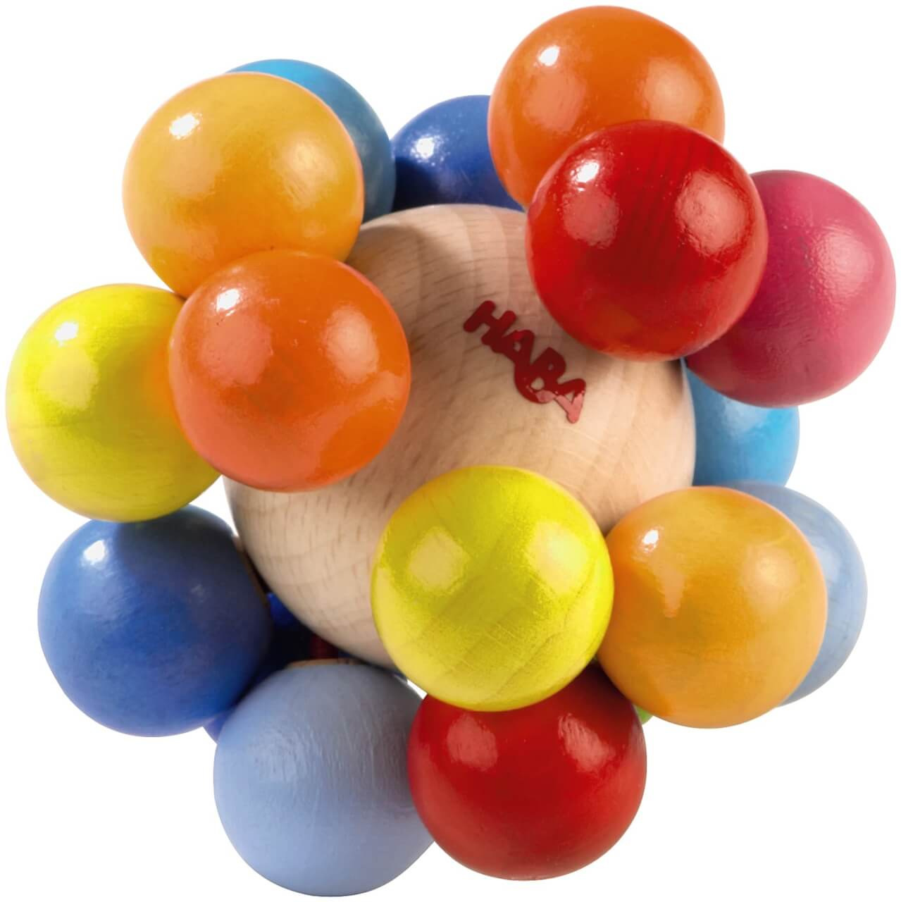 wooden ball with attached smaller wooden balls